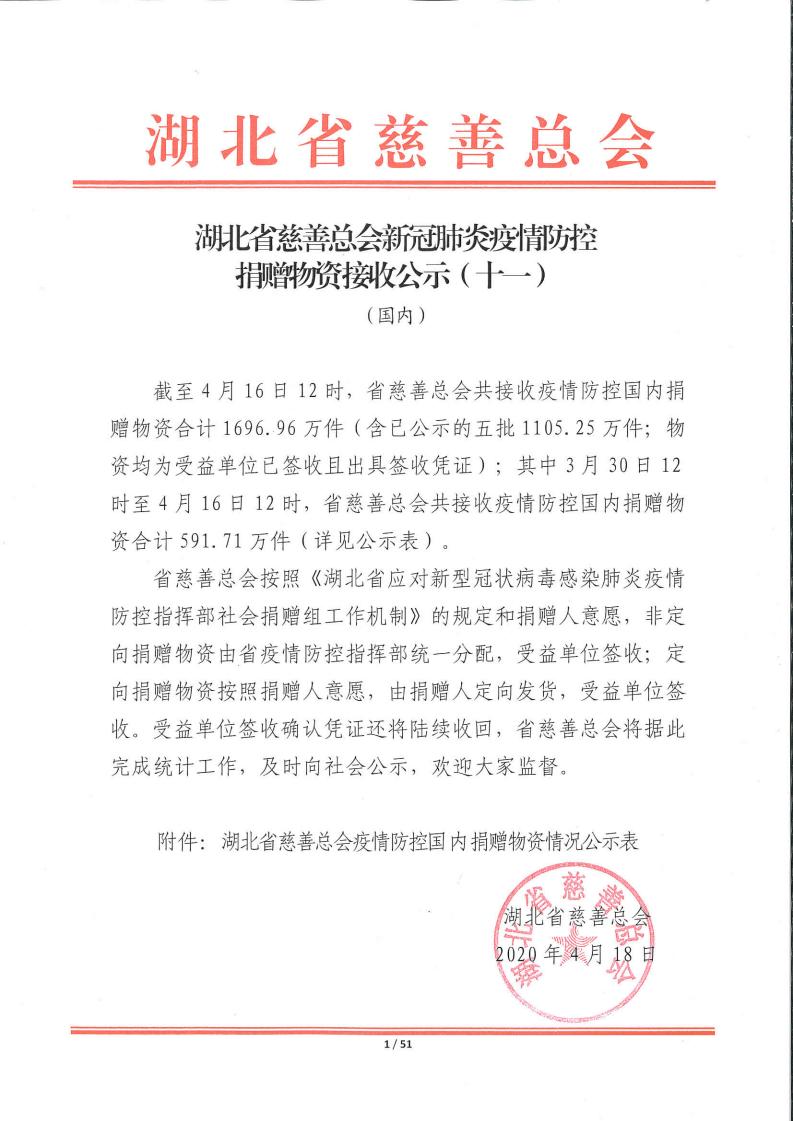 湖北省慈善总会疫情防控捐赠物资公示十一(国内)_00.png