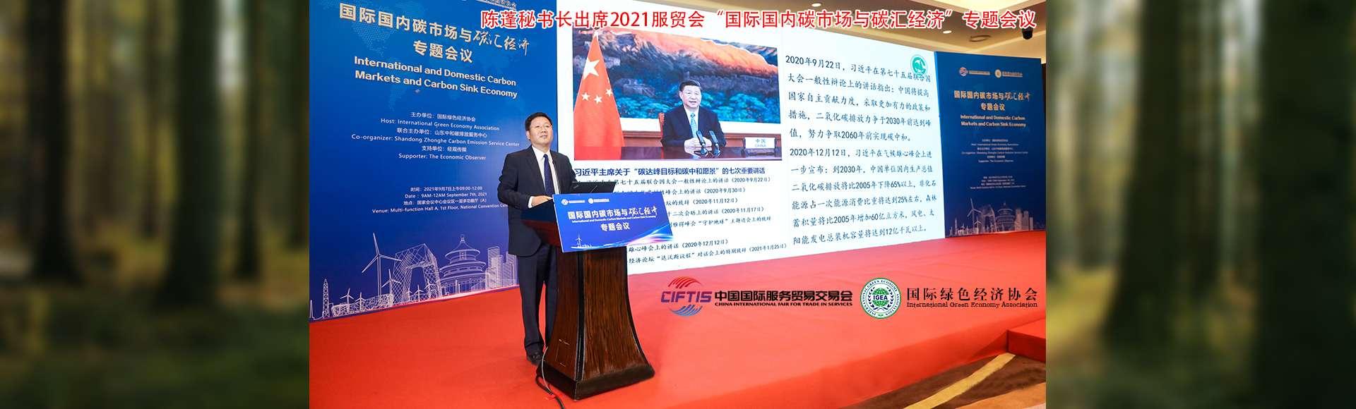 """陈蓬秘书长出席2021服贸会""""国际国内碳市场与碳汇经济""""专题会议"""
